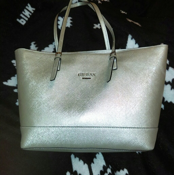 62aceb6505c Guess Bags   Large Silver Metallic Tote Purse   Poshmark
